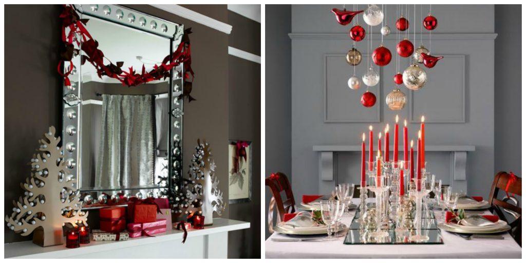 espelho decorado para o natal