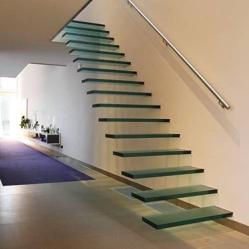 vidro na decoração escada